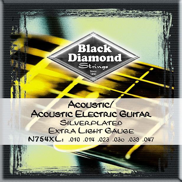 Black Diamond N754L Silverwound Acoustic Guitar Strings Light
